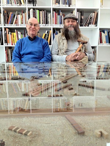 Jack Ginsberg and Williem Boshof sitting at Willem's Druid's Table at the WAM (Wits Art Museum)