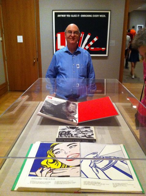 Jack Ginsberg at the Met, NY. In the cabinet are: 1c Life by Walasse Ting (nearest), Index Book by Andy Warhol & My Pretty Pony by Barbara Kruger (closest to Jack). Jack has all three books in his collection!
