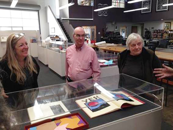 Mary Austin, Jack and Claire Van Vliet at the Center for the Book, SF, with the retrospective exhibition for the Janus Press on display