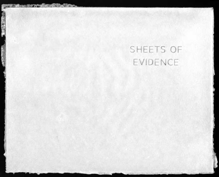 Click the image for a view of: Sheets of Evidence # 1